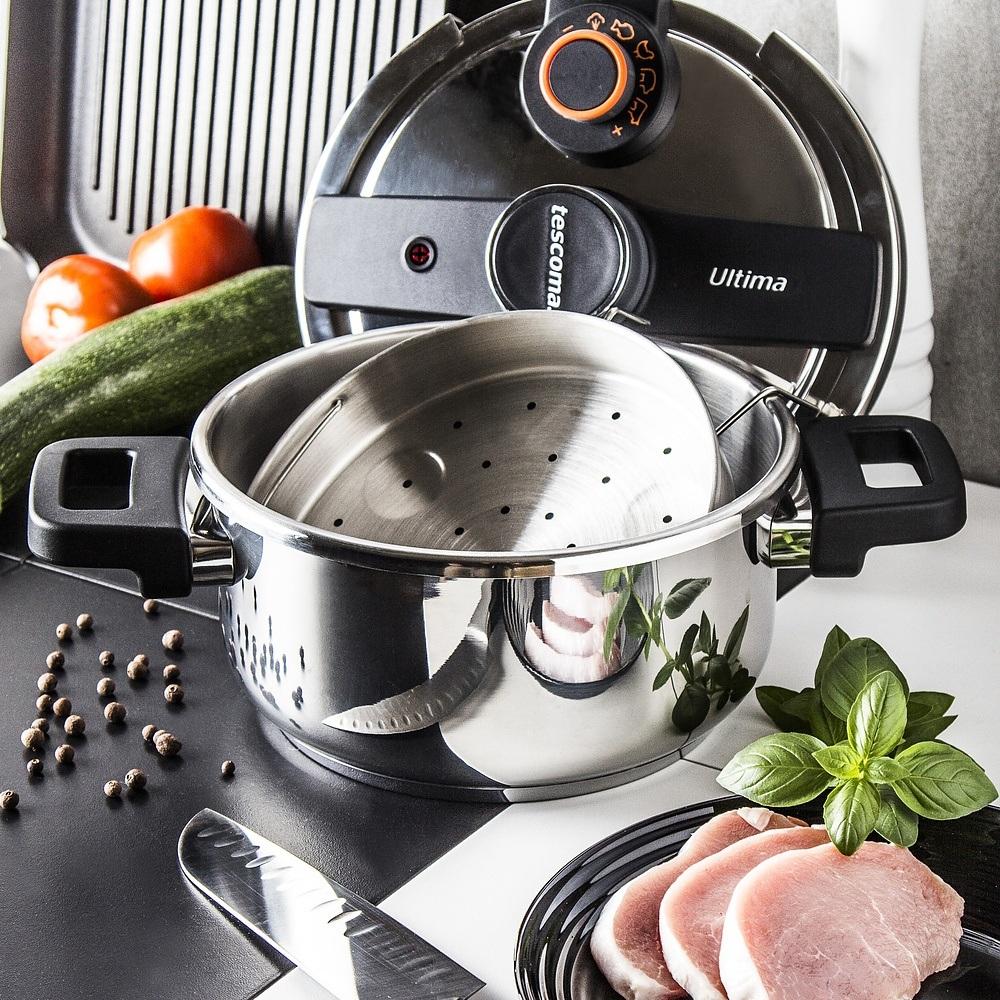 Olla de cocción rápida con cesta de vapor
