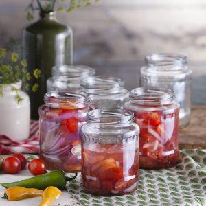 Tarros para conservas de vidrio.Frutas