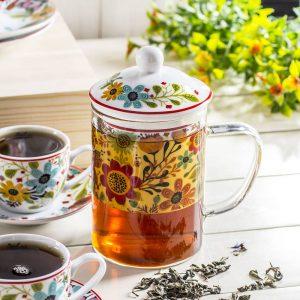 Taza de vidrio con infusor de té Duo Flowe