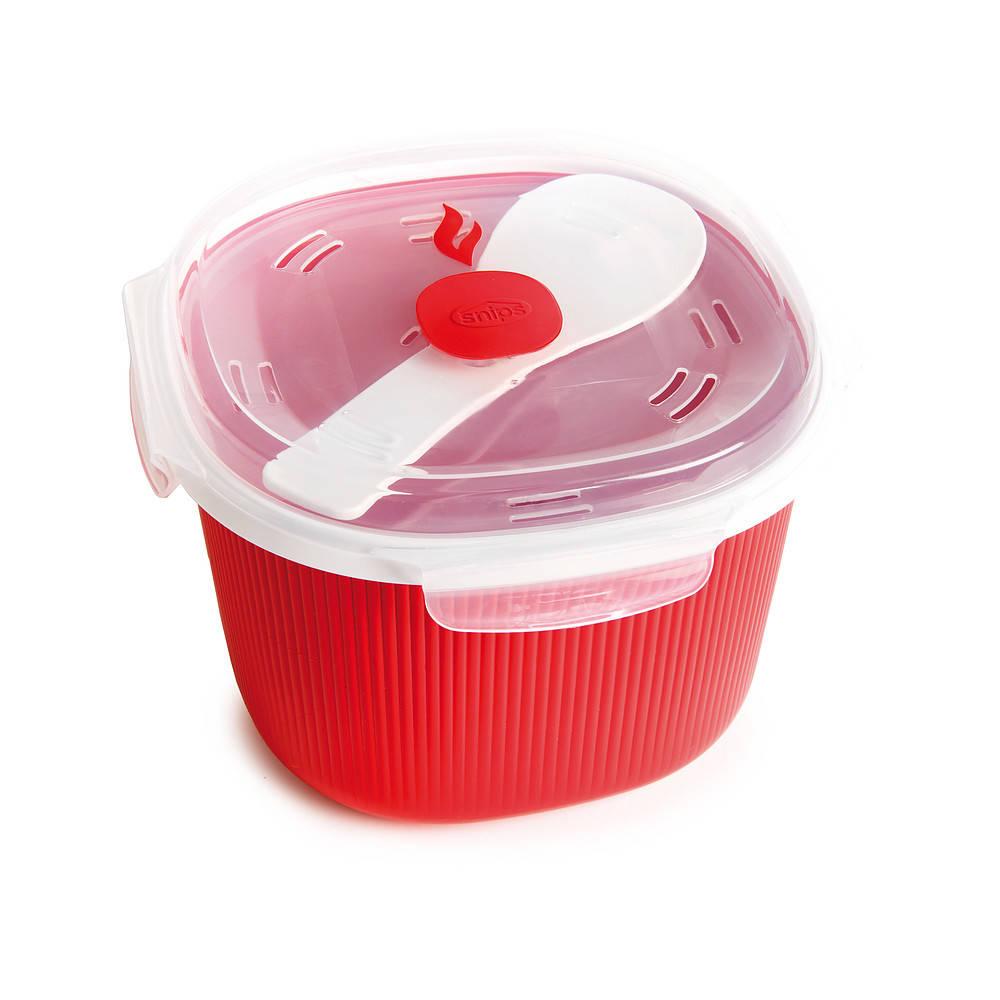 Un recipiente para cocinar arroz y gachas en el microondas.