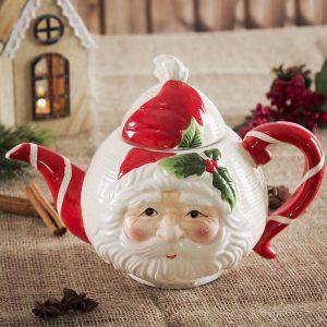 Tetera y café de cerámica Santa Claus