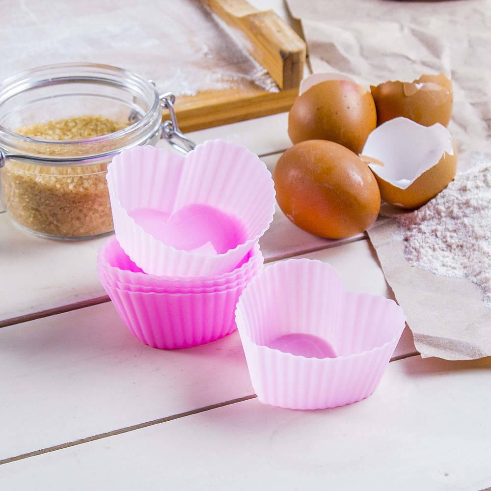 Moldes de silicona para muffins de corazón