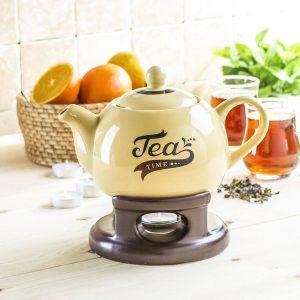 Tetera de porcelana con calentador Tea Time