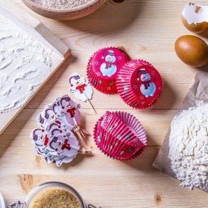 Decoraciones para muffins de muñeco de nieve Silikomart