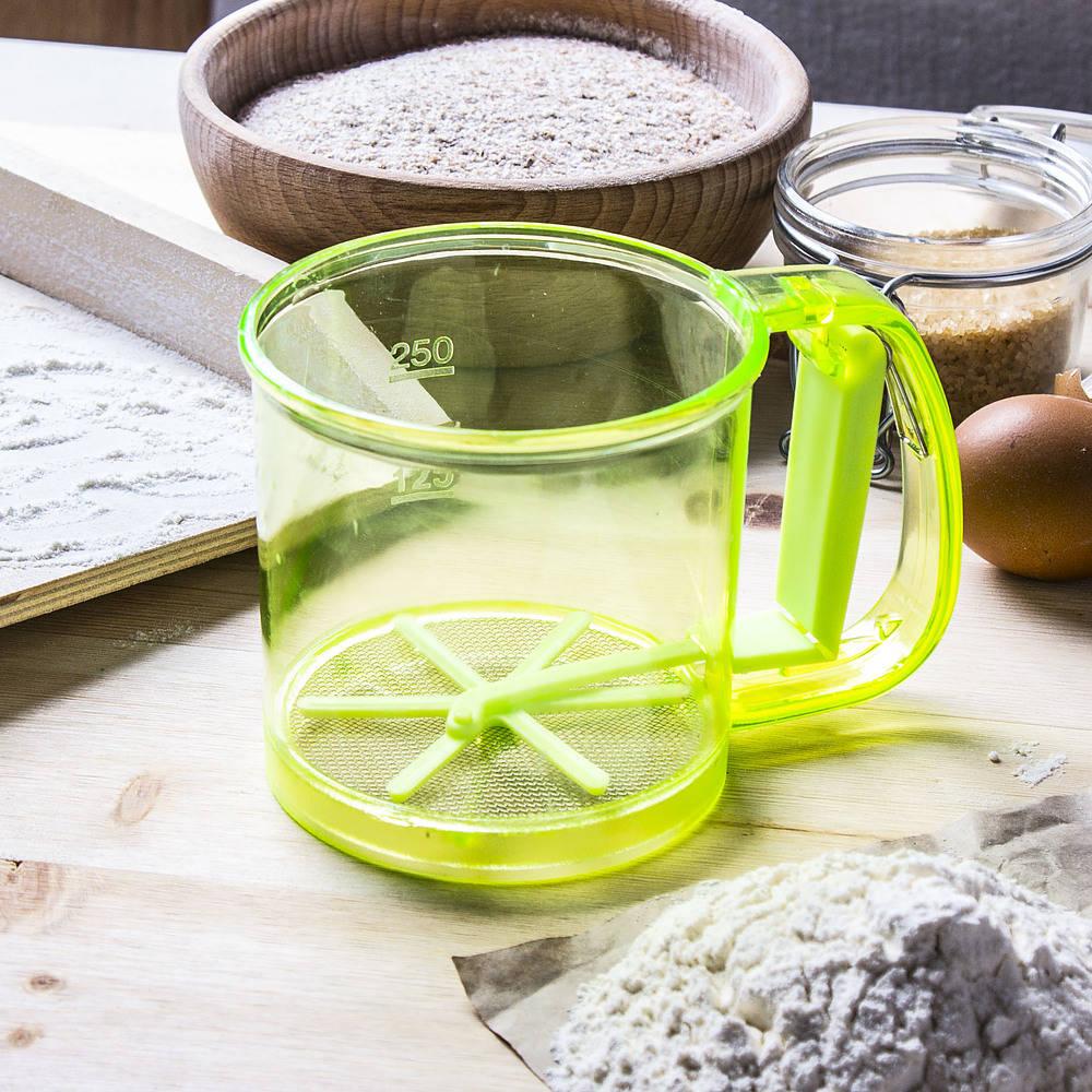 tamiz tamiz para harina y azúcar en polvo, plástico rápido
