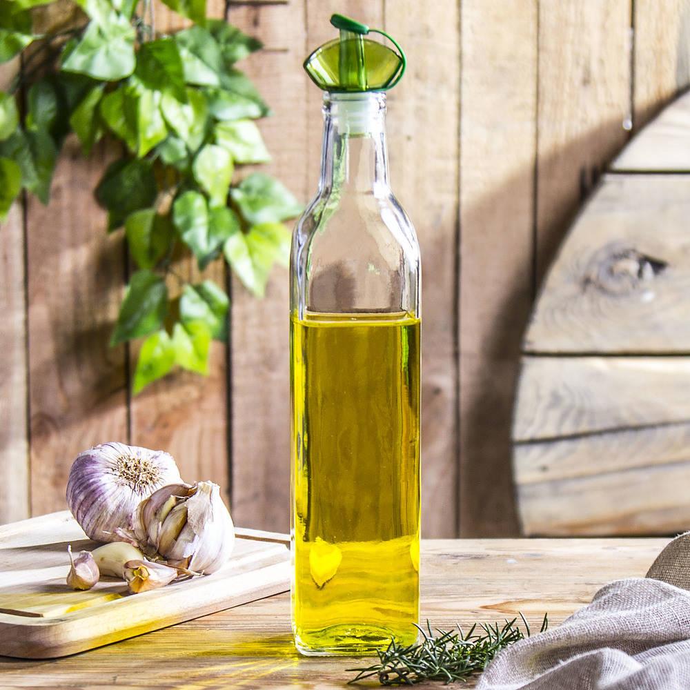 Botella de aceite y vinagre con dosificador de vidrio