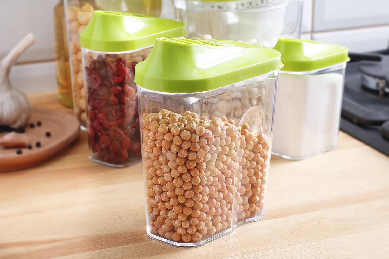 Dispensador de alimentos de plástico branq