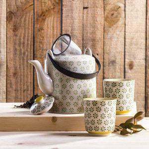 Tetera y tazas de té Duo Flowers
