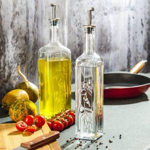Botella de vidrio para aceite de oliva y vinagre Pasabahce