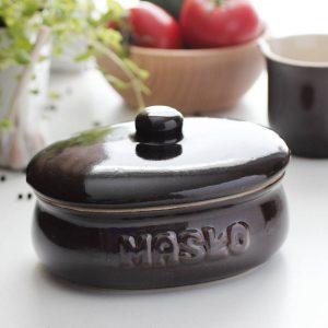 Fuente de mantequilla ovalada de gres