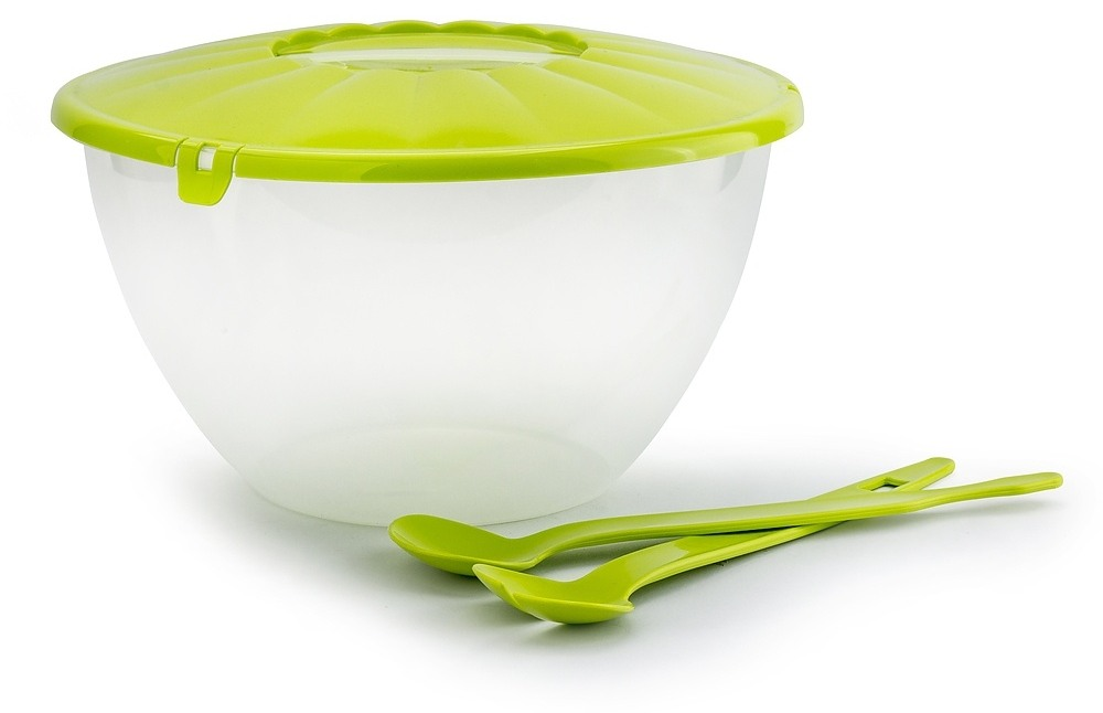 Recipiente de plástico con cubiertos para ensalada