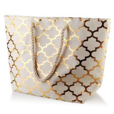 Bolso shopping de mujer en poliéster SARA MOROCCO GOLD WHITE