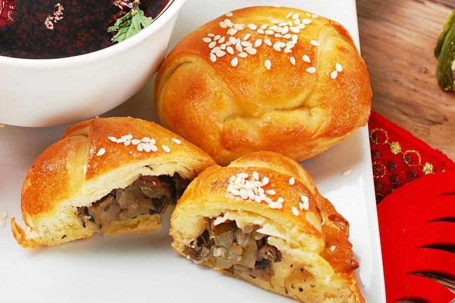 Tartas con repollo y champiñones para borscht - receta
