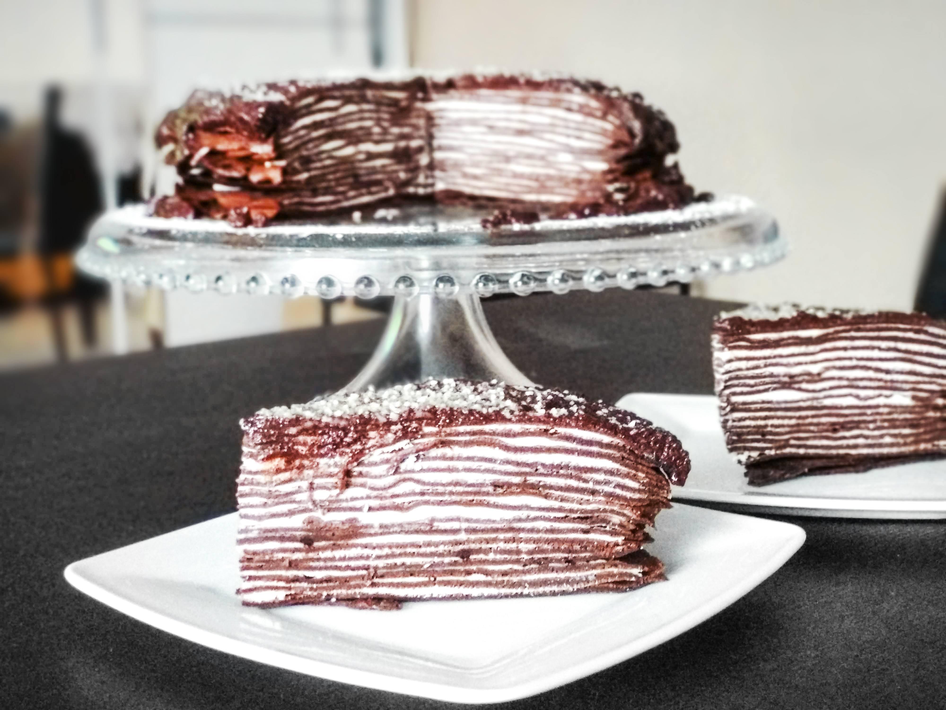 Receta de pastel de panqueques de chocolate