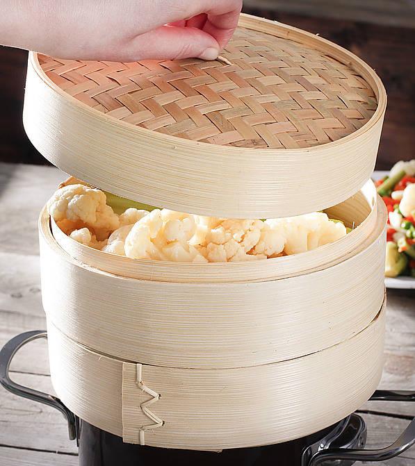Vaporera de bambú para cocer al vapor